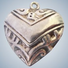 Vintage Sterling Silver 925 Puffy Heart Charm