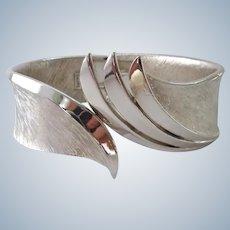 Crown Trifari Silver Tone Clamper Bracelet