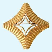 Capri Large Geometric Gold Tone Brooch Signed