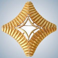 Large Geometric Gold Tone Brooch Capri Signed