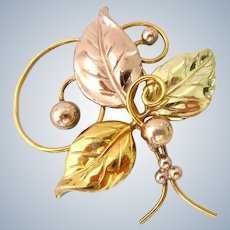 Large 12K Gold Filled Leaves and Berries Brooch Two-Tone