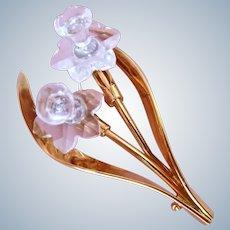 Swarovski Clear Crystal Daffodil Pin Brooch Swan Signed
