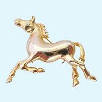 Prancing Horse Pin Gold Tone Rhinestone Eye