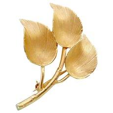 12K Gold Filled Leaf Pin Signed Binder Bros