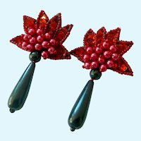 Fun Red Black Sparkle Sequins Dangle Post Earrings