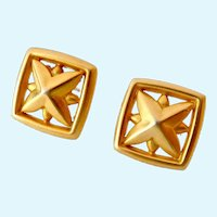 Smithsonian SI Geometric Earrings 14K Posts Dated 1991