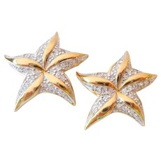 Pair of Monet Sparkly Star Scatter Pins
