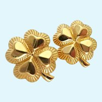 Fun 4-Leaf Clover Post Earrings Gold Tone