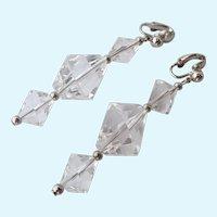 Crown Trifari Clear Lucite Dangle Clip Earrings