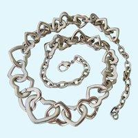 Fun Silver Tone Interlocking Hearts Necklace