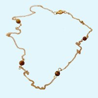 Sweet 12K Gold Filled Chain Necklace with Tiger Eye Bead Stations