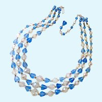 Three Strand Sparkly Blue & Clear Crystal Choker Necklace