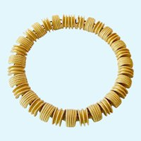 Dramatic Substantial Gold Tone Choker Necklace