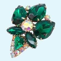 Vintage Emerald Green and AB Rhinestone Brooch