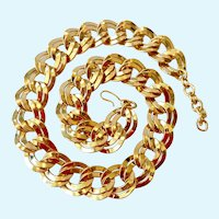 Monet Large Double Link Gold Tone Necklace
