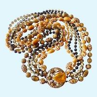 Six Strand Selini Necklace Earth Tones Multi-Shape Texture Plastic Beads