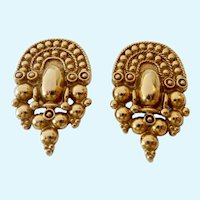 Etruscan Design Gold Tone Post Earrings
