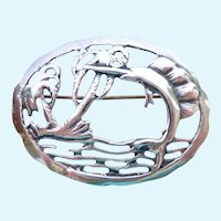 Sterling Silver 925 Brooch Tropical Fish Palm Trees Water