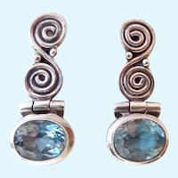 Sterling Silver 925 Blue Topaz Post Earrings Hinged