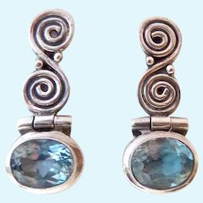 Sterling Silver 925 Blue Topaz Post Earrings Hinged