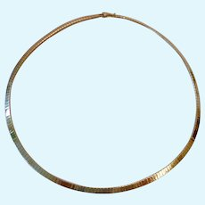 14K Gold Over Sterling Flat Collar Necklace