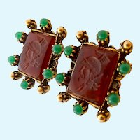 Vintage Intaglio Screw Back Earrings