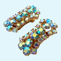 Sparkly Aurora Borealis (AB) Crystal Clip Earrings