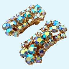 Sparkly Aurora Borealis (AB) Crystal Clip Earrings