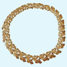 Monet Lacy Gold Tone Choker Necklace with Extra Link