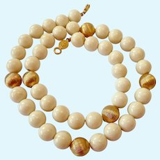 Vintage Napier Simulated Ivory & Gold Tone Necklace