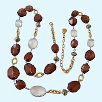 Long RJ Graziano Necklace with Clear & Root Beer Lucite Stations Over 38 Inches