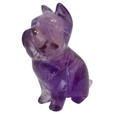 Carved Amethyst Bulldog Dog Miniature Figurine Collectible