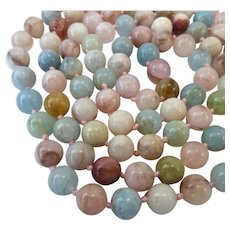 Multi-Gemstone Bead Necklace Sterling 925 Magnetic Clasp Hand Knotted 37 Inches