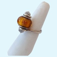 Sterling Silver 925 Murano Glass Bead Ring