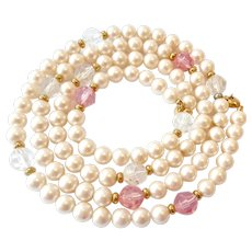 Faux Pearl & Crystal Necklace Monet 35 Inches
