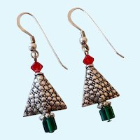 Sterling Silver 925 Christmas Tree Earrings Red & Green Crystals