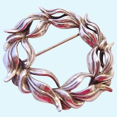Vintage Sterling Silver 925 Wreath Brooch Pin
