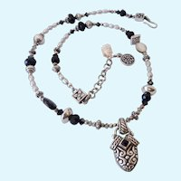 Sterling Silver 925 Cultured Pearl Black Stone & MOP Necklace