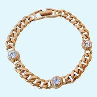 Vintage Napier Link Bracelet with Clear Crystal Stations Patent Number