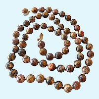 Leopard Skin Jasper Bead Necklace Cabochon Clasp Hand Knotted