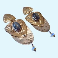 Signed Tahe Sterling Silver 925 & Gold Filled Earrings with Cats Eye Gemstone