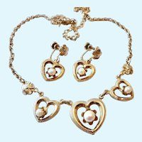 12K Gold Filled Cultured Pearl Heart Necklace & Earrings Set Signed AMCO