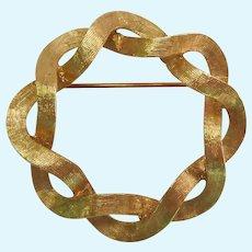 6.6 Grams 14K Gold Double Ribbon Circle Pin Brooch