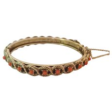 Pretty Hinged Bangle Bracelet Faux Coral Safety Chain