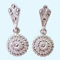 Sterling Silver 925 Marcasite Dangle Earrings Screw Backs