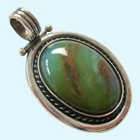 Sterling Silver 925 Green Gemstone Pendant Hinged Bail