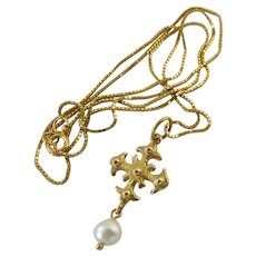 14K Gold and Cultured Pearl Cross Pendant on 14K Box Chain