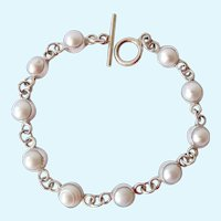Sterling Silver 925 Cultured Pearl Bracelet Toggle Clasp