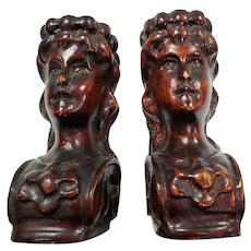 Vintage Carved Ornate Wooden Pair of Female Figure Heads
