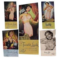 5 Vintage Cardboard Advertisement Lingerie Store Display Signs